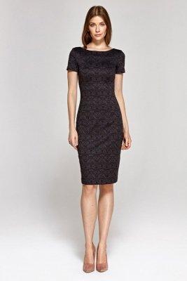 Sukienka z krótkim rękawem - wzór/bordo - CS11