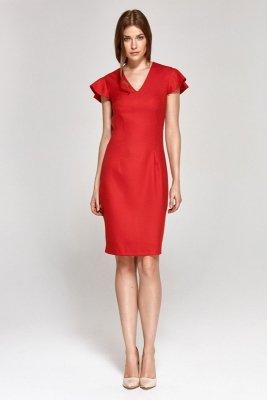 Sukienka z oryginalnymi rękawami - czerwony - CS09