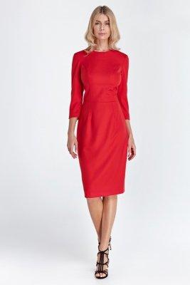 Sukienka z rękawem 3/4 - czerwony - CS04