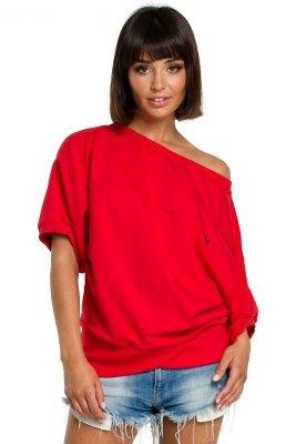 B079 Bluza z kimonowymi rękawami czerwona