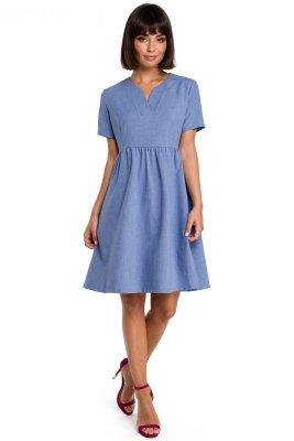 B081 Sukienka mini niebieska