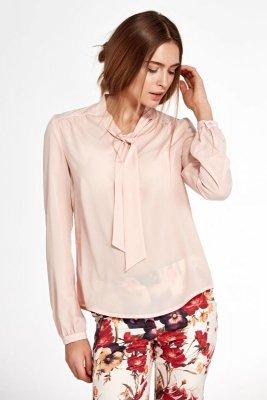 Bluzka z fontaziem i długim rękawem - róż - B94