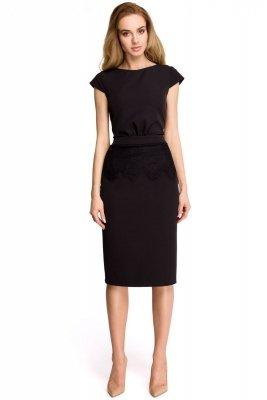 S108 Sukienka ołówkowa z koronką - czarna