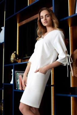 S111 Sukienka z kieszeniami - ecru