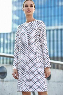 S116 Trapezowa sukienka w kratę - model 1