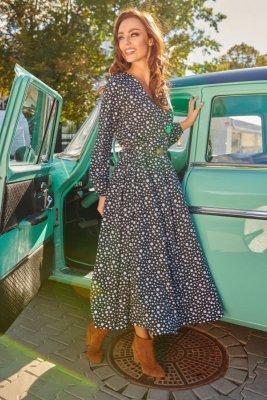 Modna sukienka midi L286 kropki