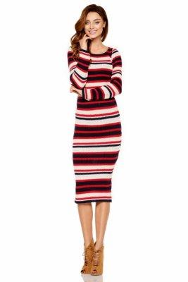 Kobieca ołówkowa sweterkowa sukienka LS224 granatowy-czerowny-beżowy
