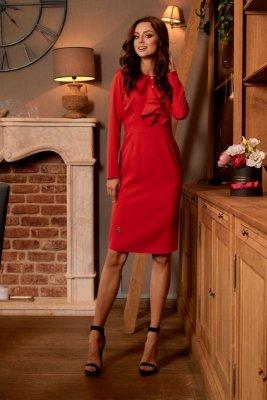 Sukienka biznesowa z żabotem L270 czerwony