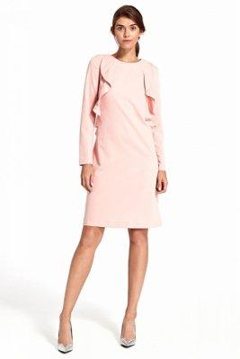 Sukienka z pionową falbaną - róż - S103