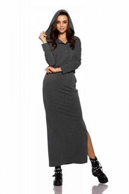 Dresowa sukienka maxi z kapturem L287 grafit