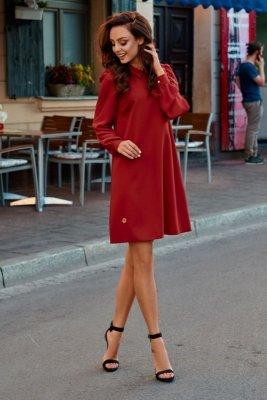 Elegancka sukienka z szyfonowymi rękawkami L265 bordo