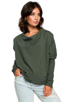 B094 Bluza z dekoltem z tyłu - khaki