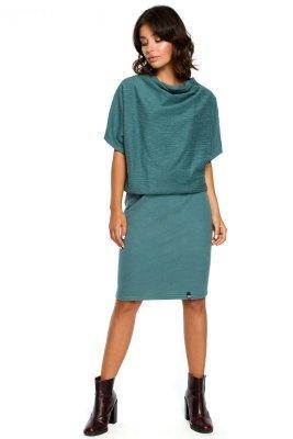 B097 Sukienka z luźną górą i wąskim dołem - turkusowa