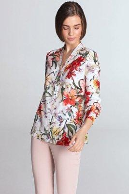 Bluzka ze złotymi napami - kwiaty/ecru - B102