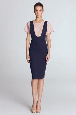 Sukienka ołówkowa z szelkami - fiolet - S116