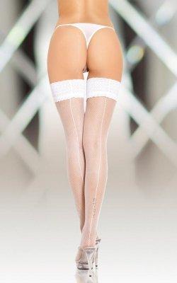 1 Stockings 5537 - white pończochy do paska PROMO