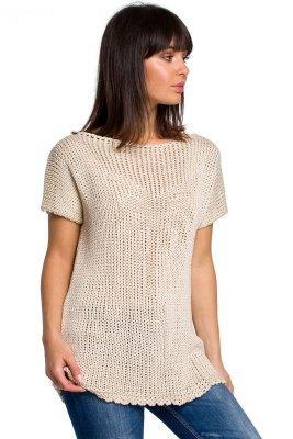 BK020 Bluzka sweterkowa z palmą - beżowa