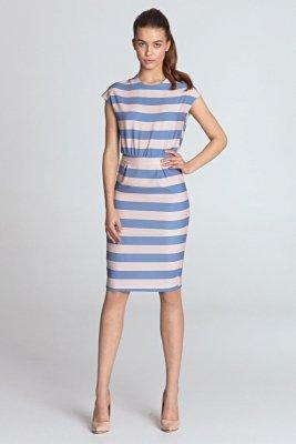 Sukienka ołówkowa - fiolet/paski - S120