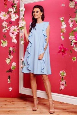 Sukienka bez rękawów z falbanami L298 błękitny