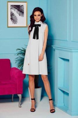Sukienka z kokardą przy szyi L296 jasnoszary