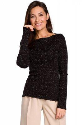 S148 Sweter dopasowany - czarny