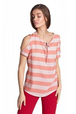 Bluzka z wycięciami na ramionach - pomarańcz/paski - B99