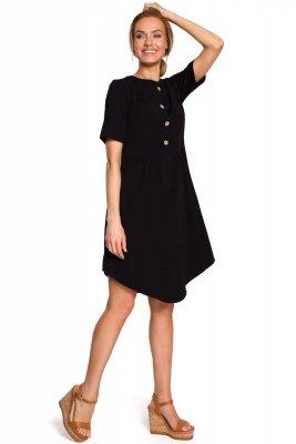 M434 Bawełniana sukienka z guziczkami - czarna