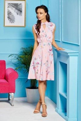 Kopertowa sukienka bez rękawów do kolan L306 pudrowy róż