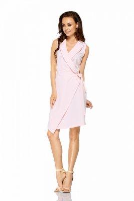 Sukienka kopertowa wiązana w pasie bez rękawów L308 pudrowy róż