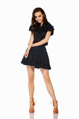 Komplet bluzka + spódniczka z falbankami LG500 czarny