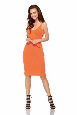 Sukienka sweterkowa na ramiączkach z falbaną LSG102 pomarańczowy