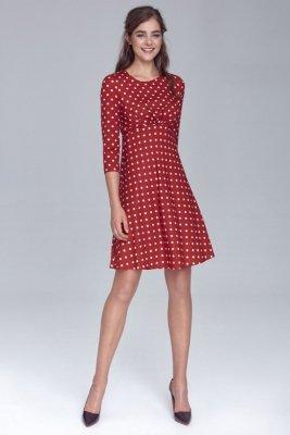Sukienka odcięta pod linią biustu - bordo/grochy - S130