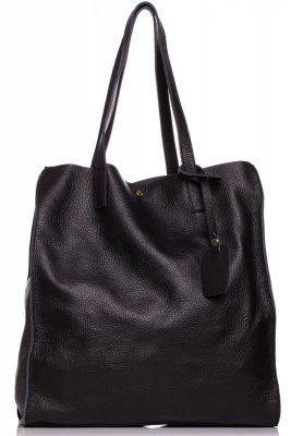SB600 Elegancka skórzana torebka - czarna