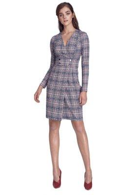 Sukienka z pasem ozdobionym napami - krata/pepitko - S132