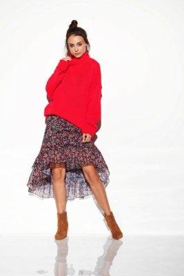 Oversizowy sweter z półgolfem LS265 malina