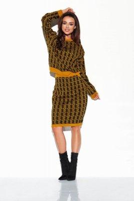 Komplet monogramy sweterek i spódniczka LSG108 czarny-kamel