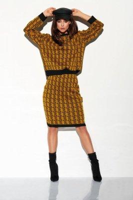 Komplet monogramy sweterek i spódniczka LSG108 kamel-czarny