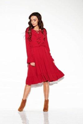 Sukienka ze sznurowanym dekoltem kolor  L313 bordo