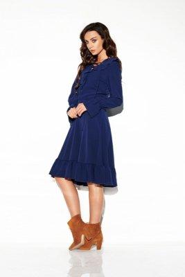 Sukienka ze sznurowanym dekoltem kolor  L313 granatowy
