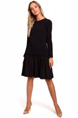 M448 Sukienka z plisowaną falbaną - czarna