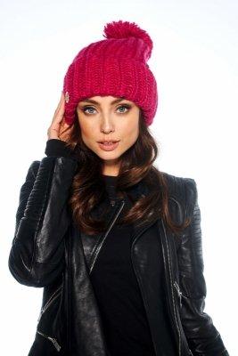 Oversizowa czapka z pomponem na zimę LC121 fuksja