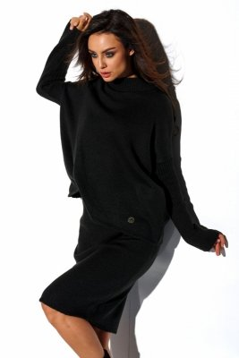 Komplet sweter półgolf i spódnica LS260 czarny