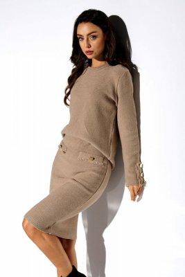 Elegancki komplet sweter i spódnica LSG118 kamel