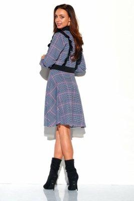 Sukienka krata z żabotem L321 druk 4