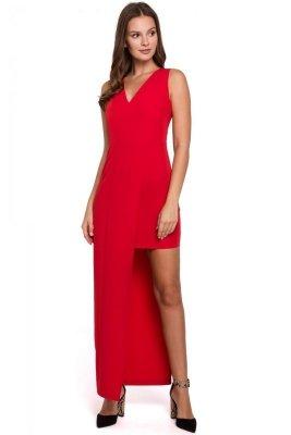 K026 Sukienka długa asymetryczna - czerwona