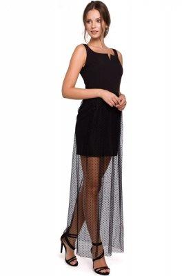 K031 Długa sukienka z dołem w groszki - czarna