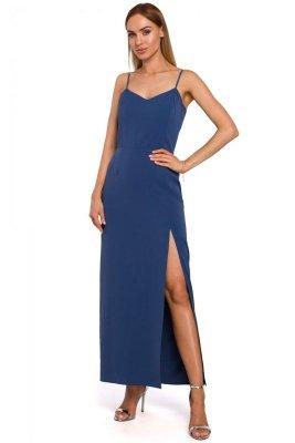 M485 Sukienka maxi na cienkich ramiączkach - niebieska