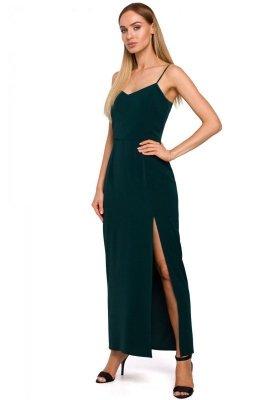 M485 Sukienka maxi na cienkich ramiączkach - zielona