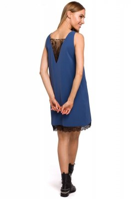 M488 Sukienka z koronkową wstawką z przodu i z tyłu - niebieska