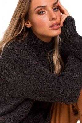 M468 Sweter półgolf z asymetrycznym dołem - grafitowy